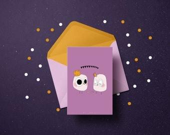 Card postal 10, 5 x 14, 8 - Illustration owls