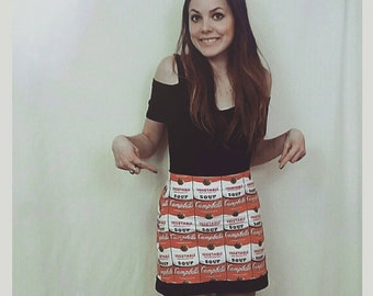 Andy Warhol soup can mod psychedelic pop art vintage retro art skirt 1960s 60s