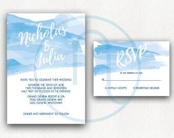 Printable, Customized Watercolor Wedding Invitation, RSVP Card, Thank you Card Digital Invitation,