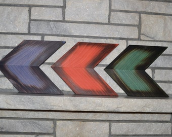 Wood Chevron Arrows set of 3, Fire Burnt Edges Wall Art. House Warming Present, Wall Decor