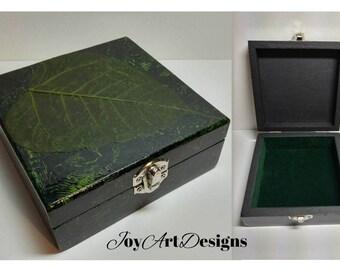 Wood Trinket Jewelry Box Real Leaf Skeleton Art Christmas Gift Nature Decor Keepsake Storage Green Black Hinged Wooden Box Velvet Lined