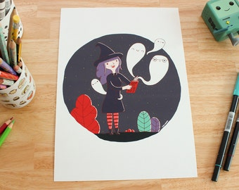 "Illustration print - ""Ghost stories"" - A4/A5 or A6 Digital fine art print, print for nursery, wall art."