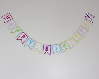 4 different Banners in 1! Happy Birthday - Party - Congrats - Thanks - Banner, Paper Banner, Birthday Party, Happy Birthday Garland,