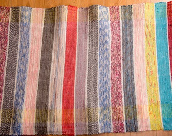 Rag Rug loom FREE SHIPPING Long Corridor Rug floor mat rug runners rag rugs hallway rugs rustic rugs Pastel stripes handwoven with raffia