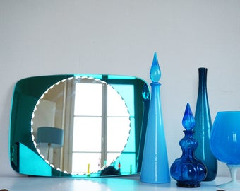 Large mirror vintage blue green tints