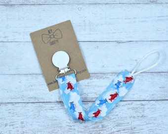 Binky Leash- Red and Blue Airplanes