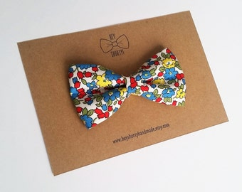 Boy's, Toddler, Baby, Red, Yellow, Blue Floral Bow Tie