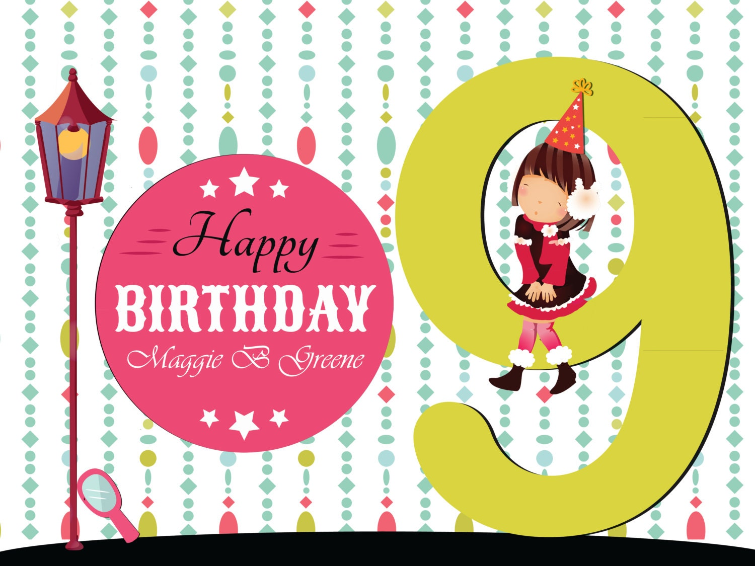 YZzoom 9 Year Old Girl Birthday Banner Wall Decoration