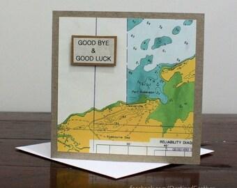 Handmade Goodbye Card, Goodbye Map Card, Farewell Greeting Card, Map Card, Goodbye & Goodluck Card, Sorry You Are Leaving, Moving Card, Bye
