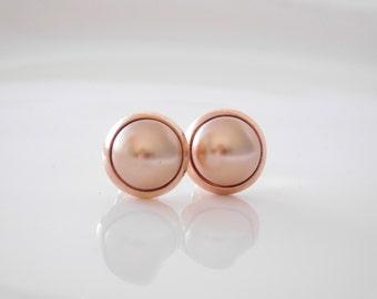 stud earrings *rose dot*