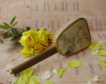 Vintage Perlon comb/brush with rose pattern
