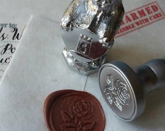 "Rose wedding party invitation self adhesive wax seal peel sticker 3/4"" 10 pieces"