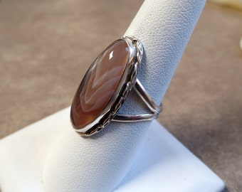 Botswana Agate Ring, Coffee Brown Agate, Botswana Agate Sterling Silver Ring, Statement Ring, Agate Ring, Botswana Agate, Richlo, 1118