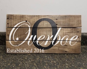 Custom Name Sign, Wedding Gift Sign, Christmas Gift, Pallet Last Name Sign, Rustic Sign, Established Date Family Sign,Weathered sign
