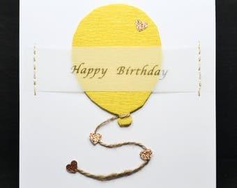 Happy Birthday Yellow Balloon (White Card)