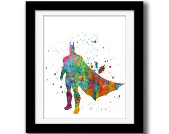 SALE - Rainbow Watercolor Digital Print - Super Heroes Wall Art Download - Wall Decor - Super Heroes Print - Watercolor Paint Splatter Art