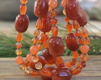 Carnelian Necklace. Cornelian Beads. Carnelian Gemstone and Sterling silver 925. Silver Necklace With Cornelian Stone. Gift Idea