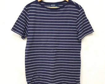 Rare!! POLO Ralph Lauren Stripes Tee Tshirt Small Pony Multicolour Hiphop Swag Large Size