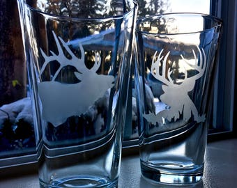 Etched Elk and Deer pint glasses