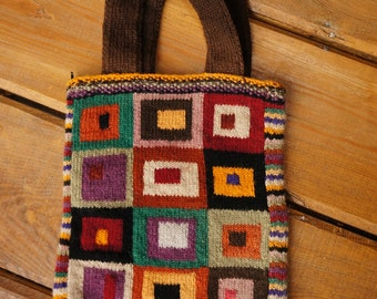 Vintage hand knitted wool purse, knitted pouch, vintage hand knitted bag, colourful tribal bag, vintage handmade bag, rustic cottage purse