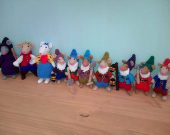 hand knitted snow white and seven dwarfs set