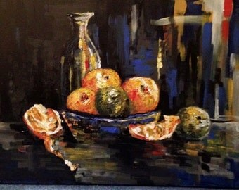 Original oil painting, Still life with oranges, 2014