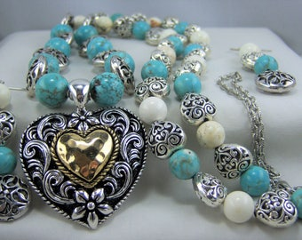 T158, Turquoise Dyed and White Howlite with Silver Plated Beads and Western Heart Pendant Necklace