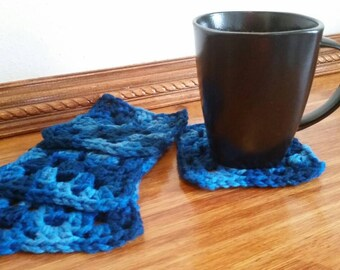 Set of 4 Crocheted Coasters, Blue Crocheted Coasters, Handmade Coasters