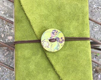 Green Leather Wrap-around Journal with Recycled Paper and Wood Decorative Button/Elastic Closure
