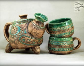 Unique teapot with mask and 2 cups, ceramic teapot, PreColumbian art decor house, handmade teapot, ceramic set kettle, african mask