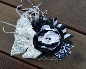 OTT Singed Satin Flower headband m2m WDW Black Sails