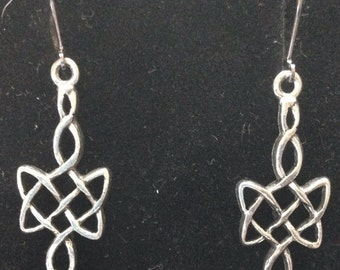The Irish Lass Antique Pewter Celtic Drop Earrings
