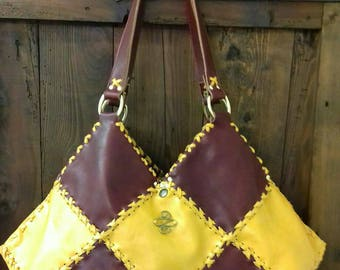 Burgundy leather purse and Pearly mango