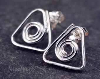 Silver studs triangle ladies 925 plug earrings gift SOS143
