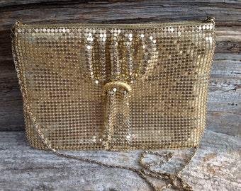 Vintage Gold Metal Mesh Evening Bag Purse Retro Disco Special Occasion Party Prom Wedding Bridal