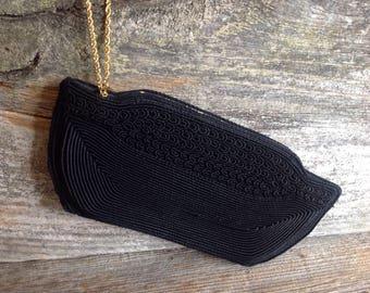 Vintage 1950's Corde Evening Bag/Clutch corde/vintage/black/1950