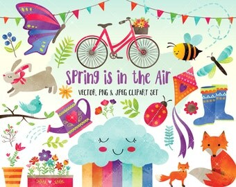 Watercolor Spring Clipart - Watercolor Clipart - Cute Clipart Set - Digital Printables  - Digital Clip Art INSTANT DOWNLOAD