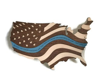 Thin Blue Line Flag - Police Officer Gift - Police Gift - US Flag Wall Art - Patriotic Decor - Thin Blue Line Wall Art - Thin Blue Line