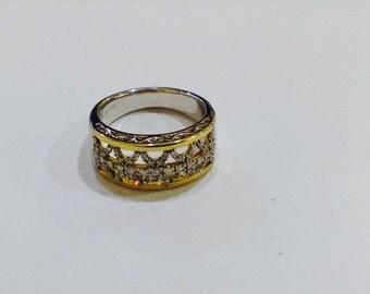 Diamonds,14k gold,Sterling silver ,wedding,anniversary band band,size7