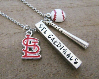 STL St Louis Cardinals Baseball MLB Necklace - Hand Stamped Jewelry