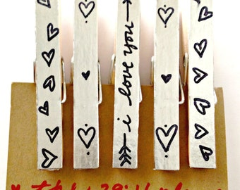 Silver Clothespin Magnets, LOVE Magnet Set, Heart Magnet Sets, Shiny Magnets, Fridge Magnets, Girlfriend Gift, Teacher Gifts, Wedding magnet