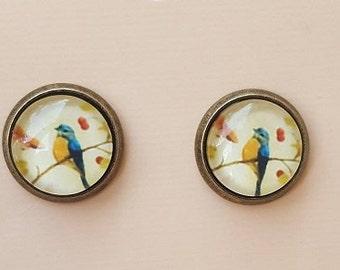 Bird on a Twig Brass Cabochon Glass Stud Earrings