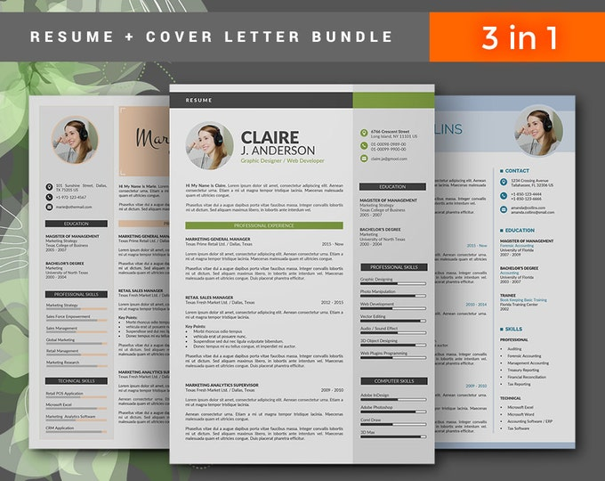 Resume Template / CV Template Bundle. 3 in 1 Creative Word Resume Design with Cover Letter, 3 Pages Modern CV Template