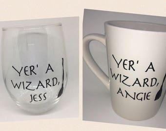 Yer' a wizard choice of mug or wine glass