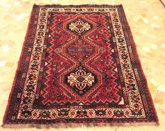 FREE SHIPPING Carpet Qashqai Shiraz Antique Persian Size 154 x 113 CM