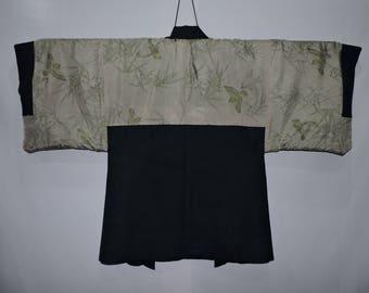 vintage Japanese Kimono Jacket Mens Haori Wool Blue 130517-15