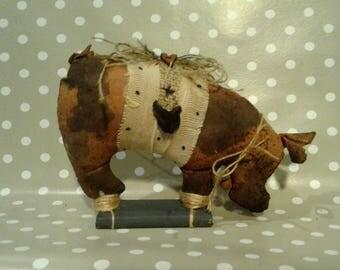 Spotted Primitive Pig - Primitive Decor- Primitive Self Sitter -Farm Decor - Potbelly Pig - Primitive Art - Rustic Decor - Primitive Hog -
