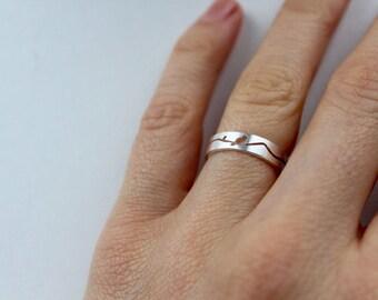 925 Sterling Silber Ring Vogel gebürstet