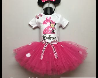 Minnie Mouse inspired 2nd birthday tutu outfit personalised