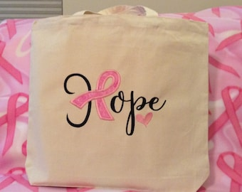 Hope pink ribbon appliqué reusable grocery tote